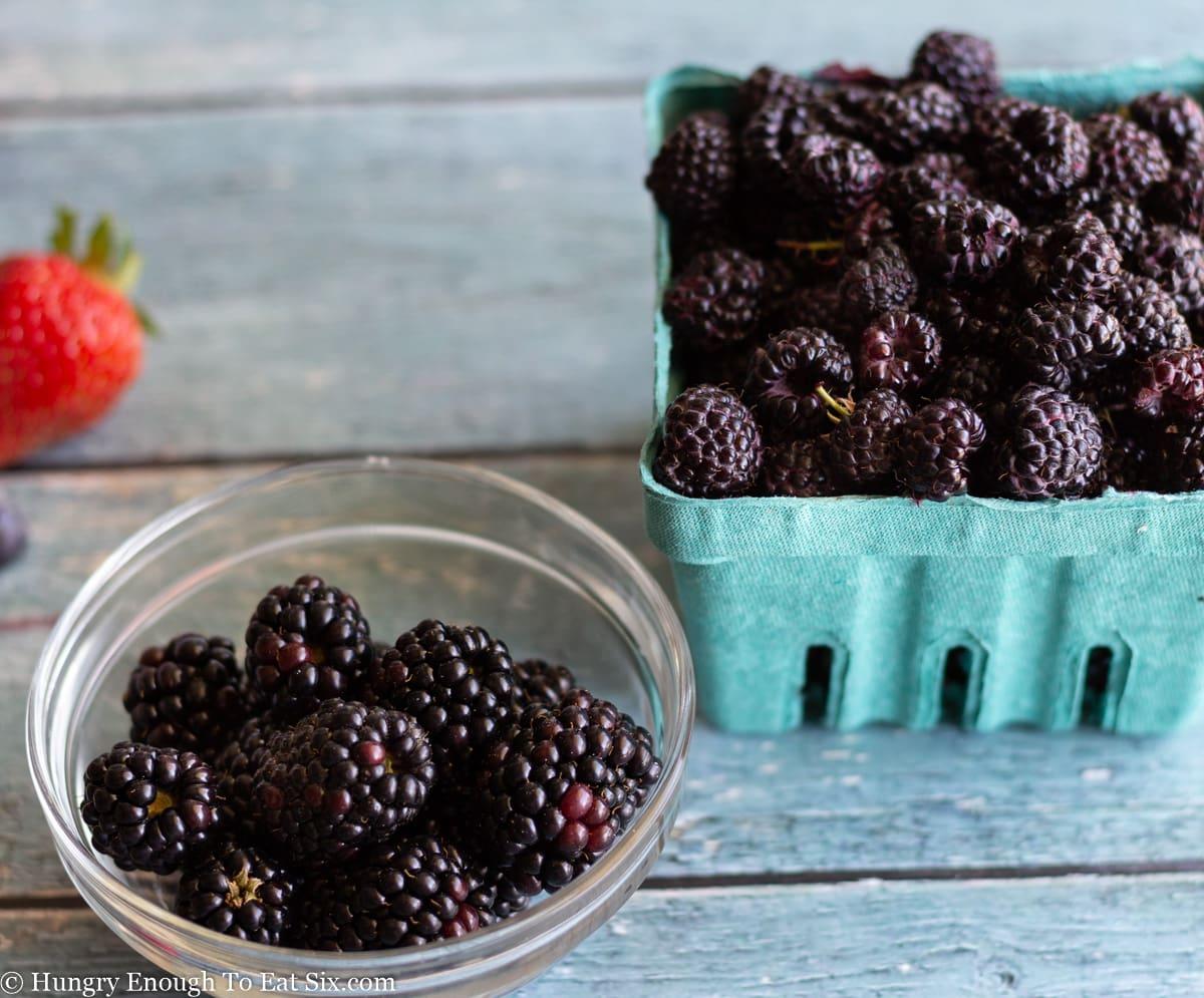 Blackberries and black raspberries side by side.