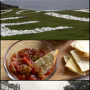 Collage of images from Donegal Ireland including the shore, the town and some chilli sauce.