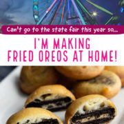 Image of ferris wheel on top, and halved fried Oreo cookies below.