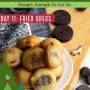 Plate full of fried Oreo cookies