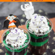 Whipped cream topped green and brown parfaits
