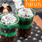 Clear cups of layered green and chocolate puddings