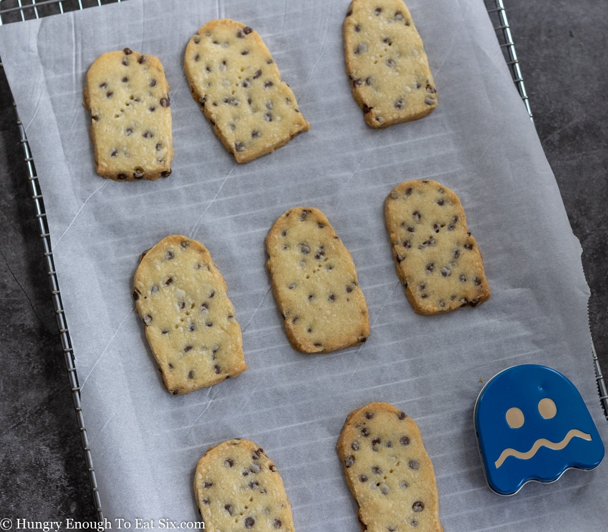 Baked oval chocolate chip cookies on a lined baking sheet and one blue metal ghost tin