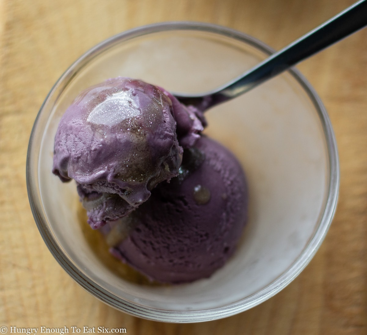 Glass dish of purple ice cream